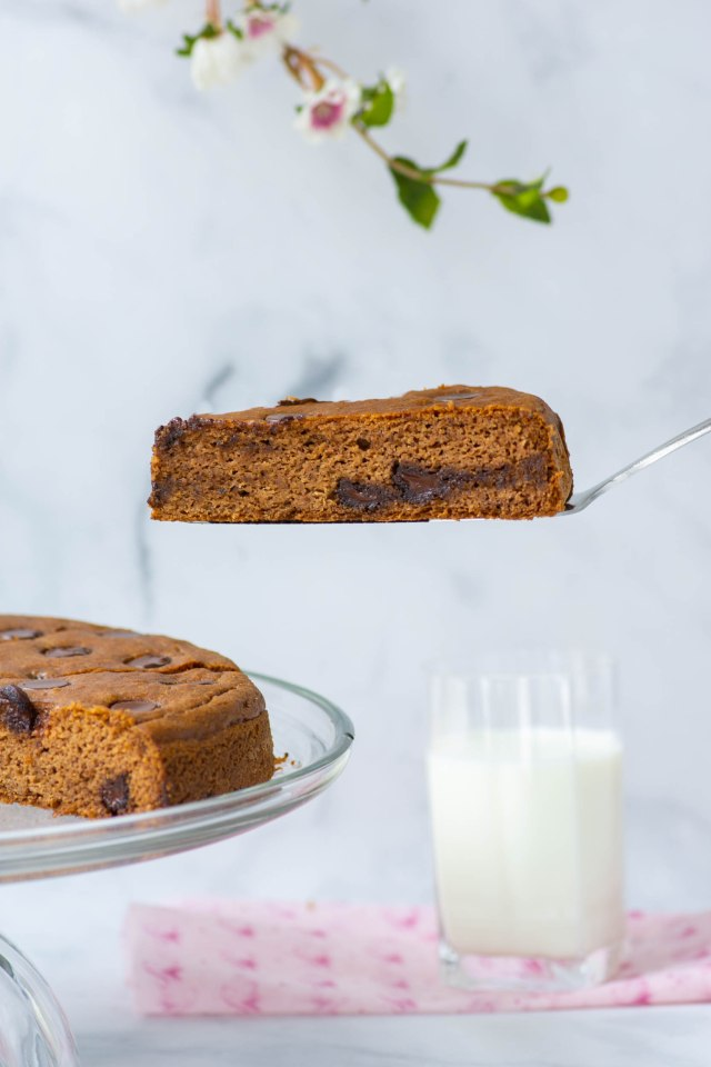 Chickpea Chocolate Chip Cake - An easy-to make gluten-free, grain-free cake made with canned chickpeas. The perfect clean eating dessert! | QueenofMyKitchen.com | #chickpeas #garbanzobeans #glutenfree #glutenfreedessert #chocolatechip #healthydessert #grainfree