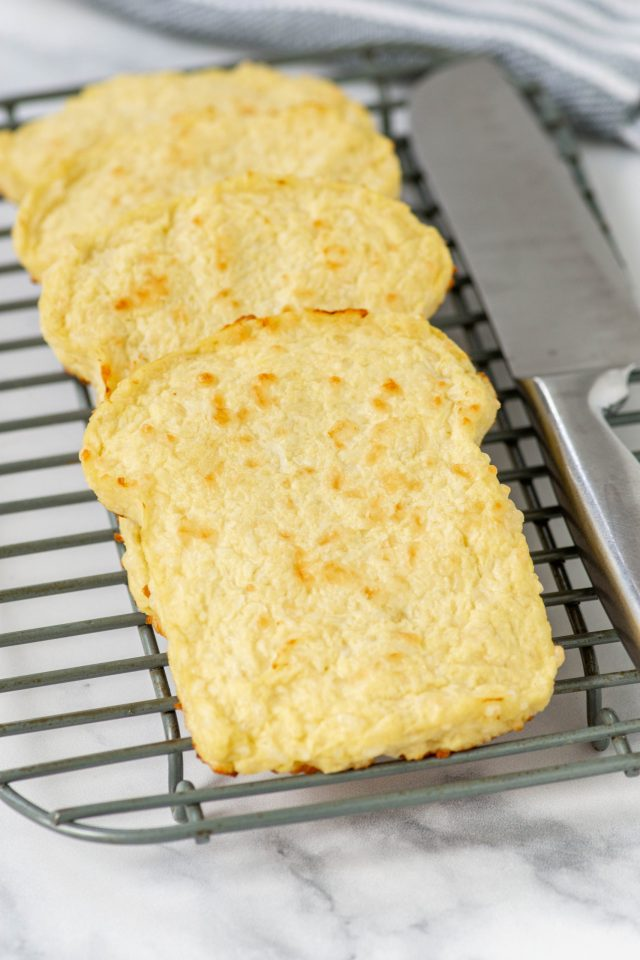 3 Ingredient Cauliflower Bread - This keto, paleo, low-carb, gluten-free bread is a delicious, healthy substitute for traditional wheat bread. | QueenofMyKitchen.com | #cauliflowerbread #lowcarbbread #paleobread #glutenfreebread #keto #ketobread