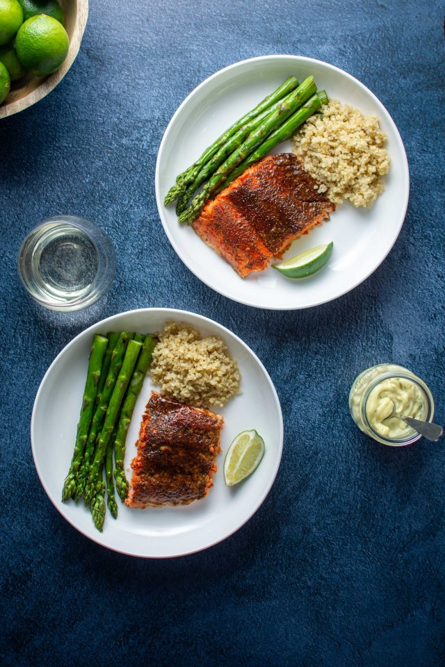 3 Ingredient Sweet and Spicy Salmon - The perfect balance of sweet and heat in a quick, healthy, and delicious salmon dish. Dinner doesn't get any easier than this! | QueenofMyKitchen | #salmon #seafood #quickdinner #easydinner #3ingredients