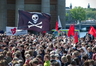 Rally in Stockholm, Sweden, in support of file sharing and software piracy.