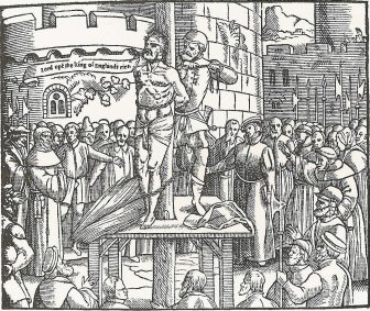 "Preparations to burn the body of William Tyndale. John Foxe's ""Book of Martyrs."""