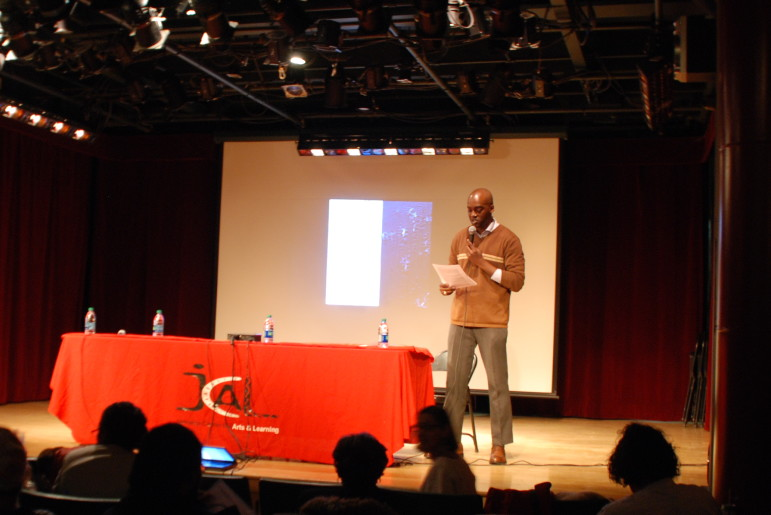 Molaundo Jones of the Queens Council on the Arts at the Jamaica Arts Leaders Town Hall. Wednesday, January 13, 2015