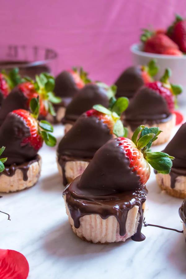 Mini Chocolate Covered Strawberry Cheesecakes Recipe