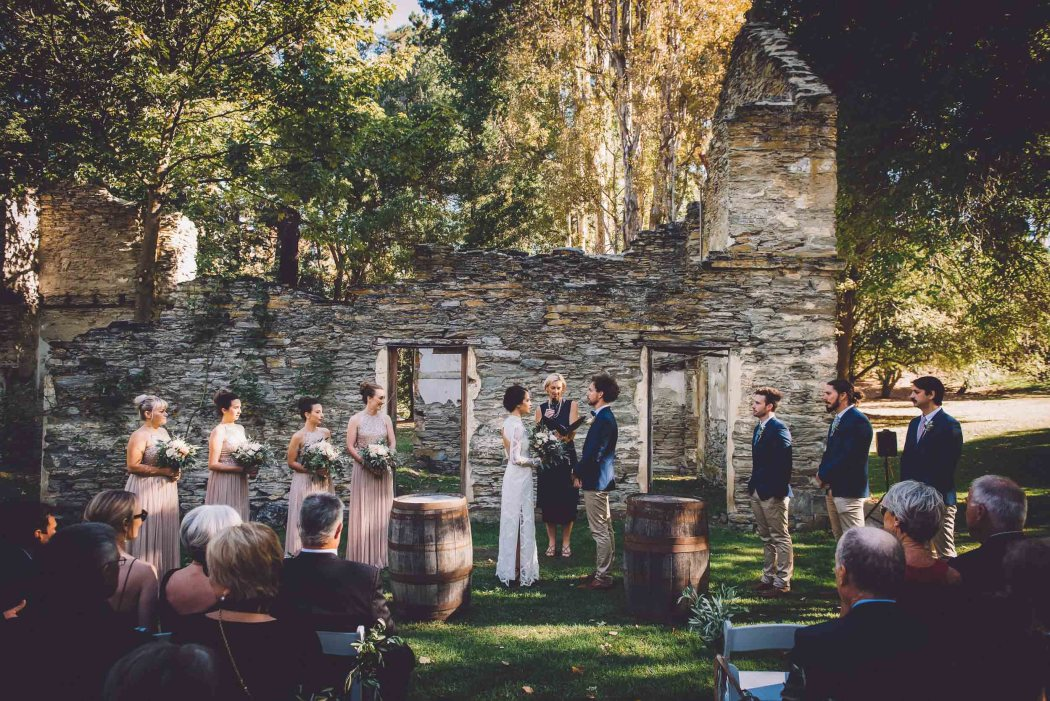 queenstown venues wedding thurlby domain ruins ceremony