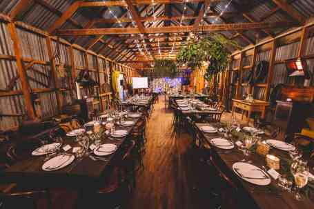 Thurlby Domain woolshed all dolled up for Georgina and Peter's wedding reception in Queenstown