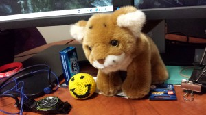 Simba and the Happy Hack(ey sack) give me company while I'm analyzing data.