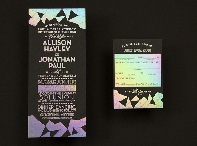 Black Holographic Invites by Mama Sauce