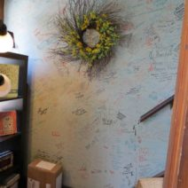 A wall features signatures in the Cobbler and Co.