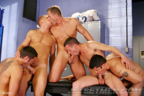 Jet Set Men TACKLE gay sex orgy Josh Griffin David Dakota Adam Campbell Blu Kennedy Luck Cassidy