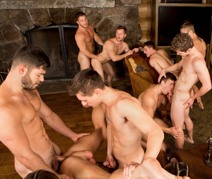 Sean Cody Gay Porn 9-Stud Bareback Orgy Winter Getaway Day5