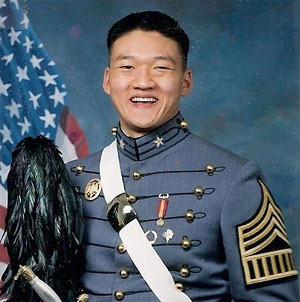Decorated gay soldier Daniel Choi,kicked out of the military for being gay and not hiding it...