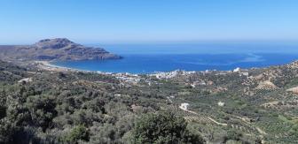 Vue de Myrthios sur la baie de Plakias (Crète)