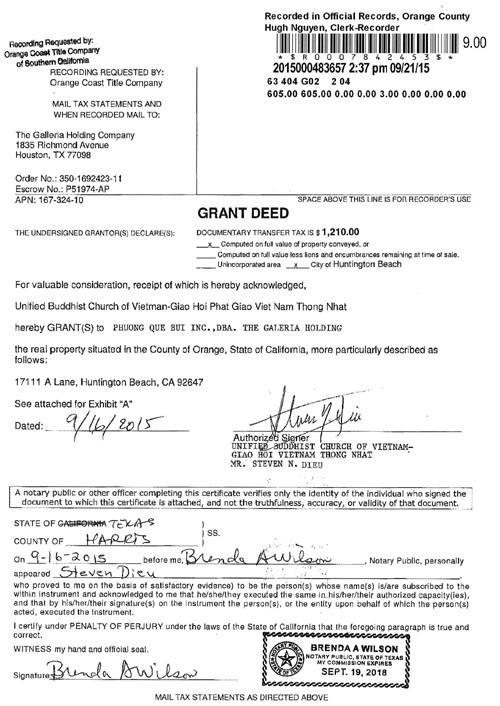 Chứng từ Grant Deed cho thấy ông Steven Điêu bán chùa bất hợp pháp cho Công ty Phuong Que Bui INC