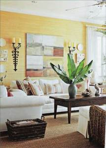 Yellow tropical living room