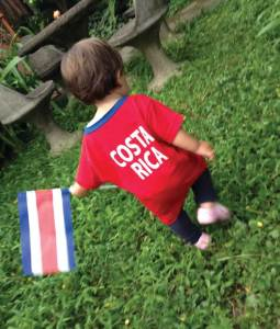 Daughter with flag