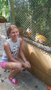 Margarita with squirrel monkeys