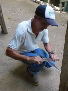 The proper way to sharpen a machete.