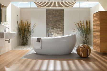 contemporary bathroom with tub