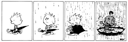 Calvin comic enjoying the rain