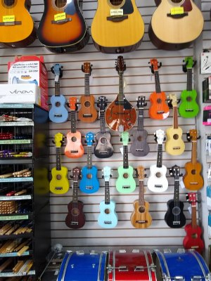 Guitars hanging on a store wall