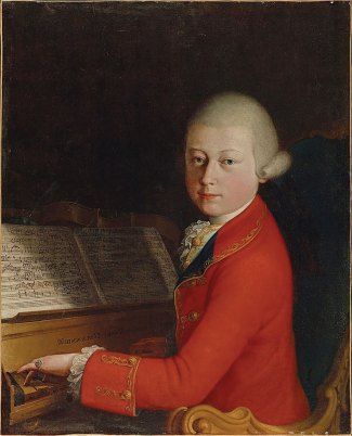 Portrait of young Mozart playing piano