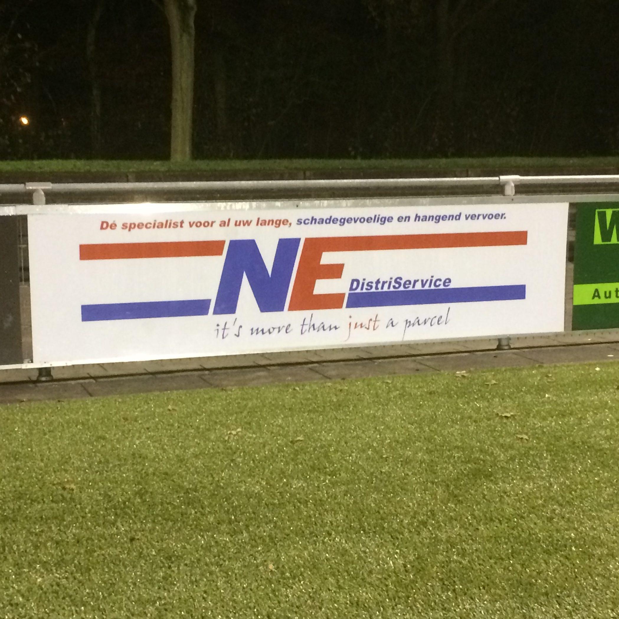 Sponsorbord voetbalvereniging NE Distriservice