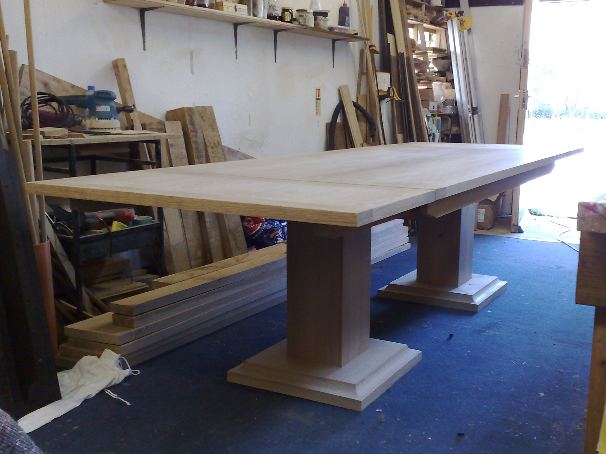 Handmade Oak Extending Kitchen Table in Workshop