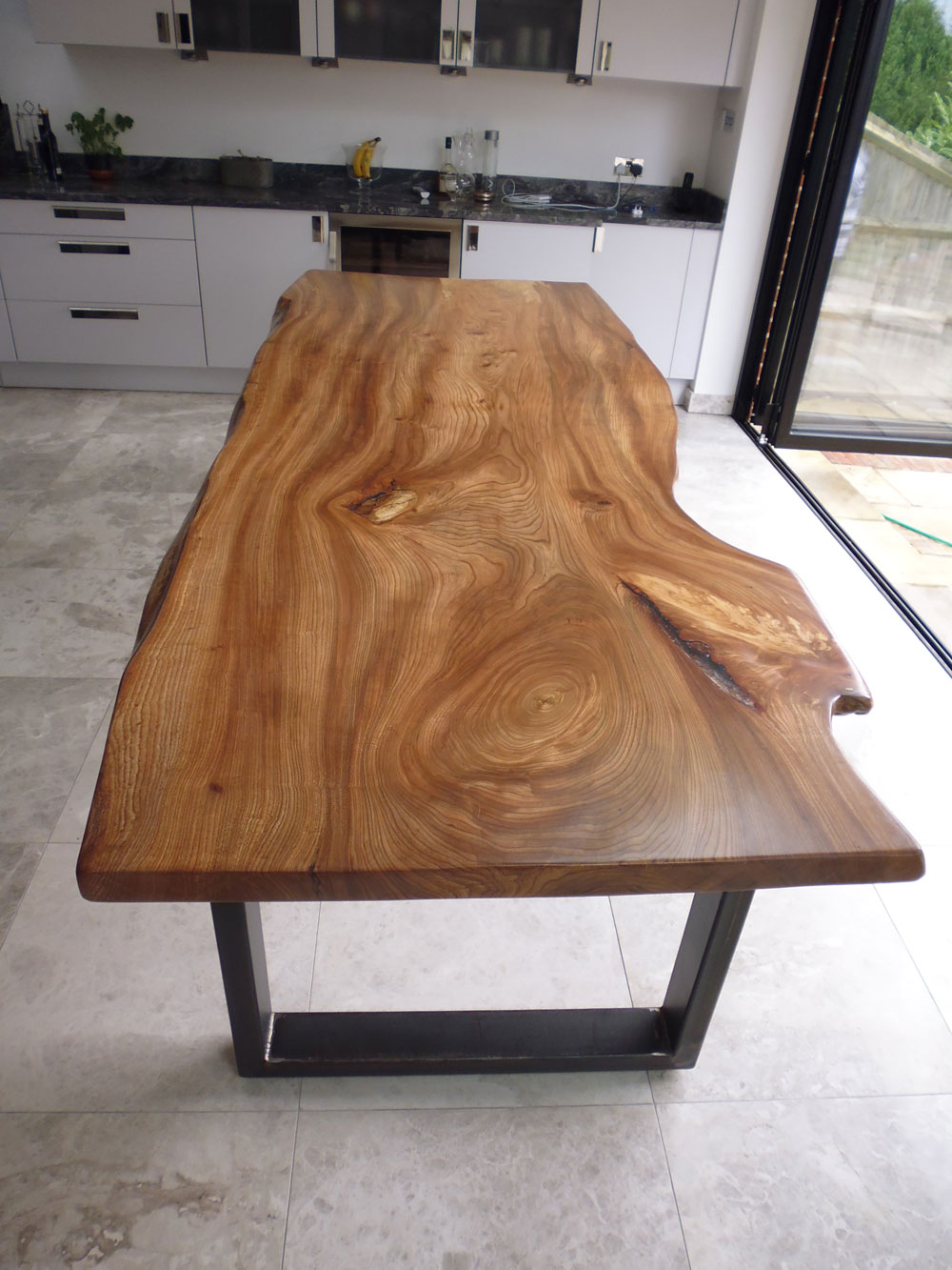 English Elm Waney Edge Slab Dining Table
