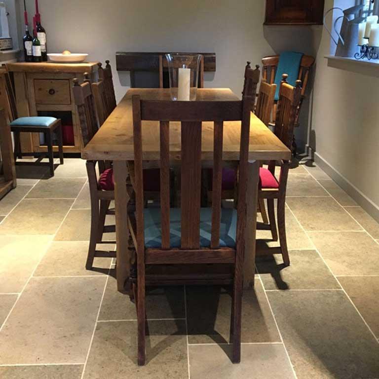 Bespoke Handmade Extending Refectory Table in Situ