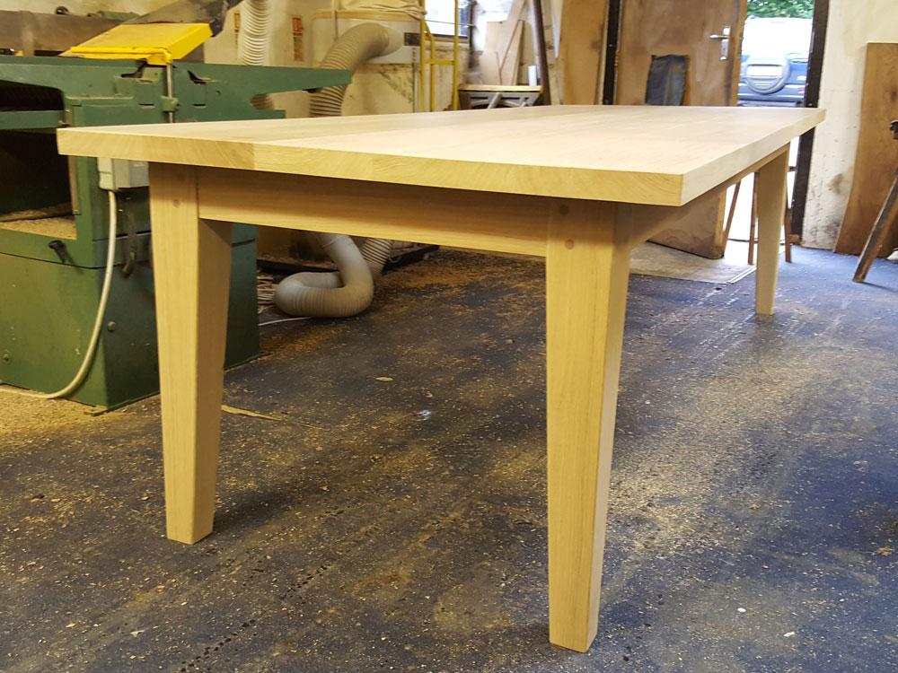 Oak Bespoke Handmade Dining Table in Workshop