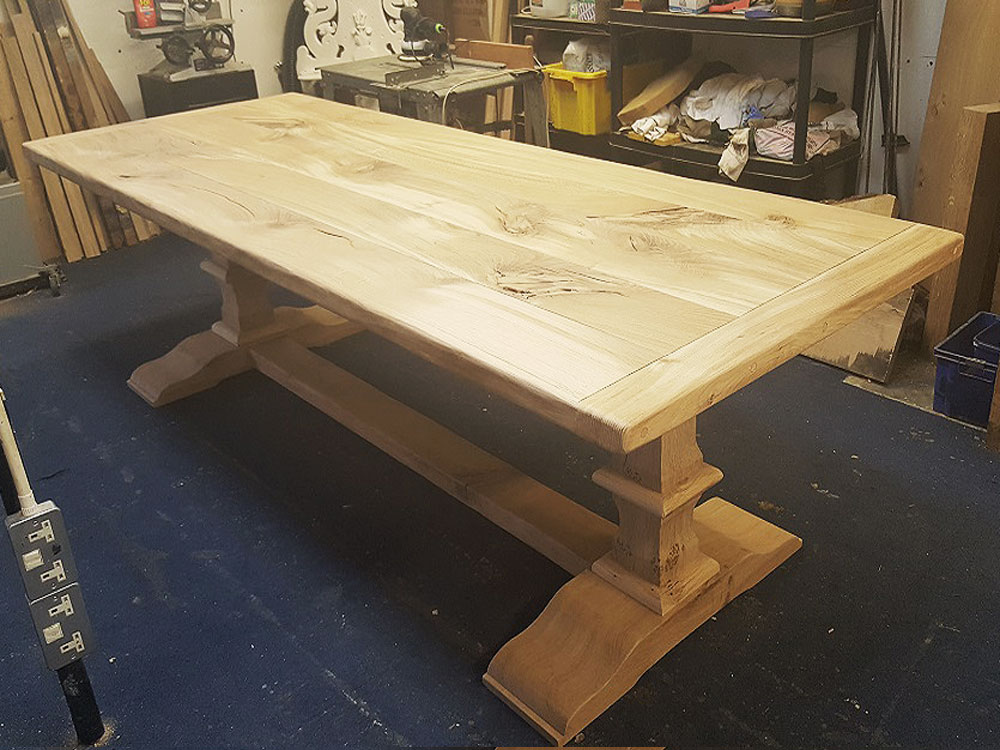 Handmade Oak Dining Table in Workshop