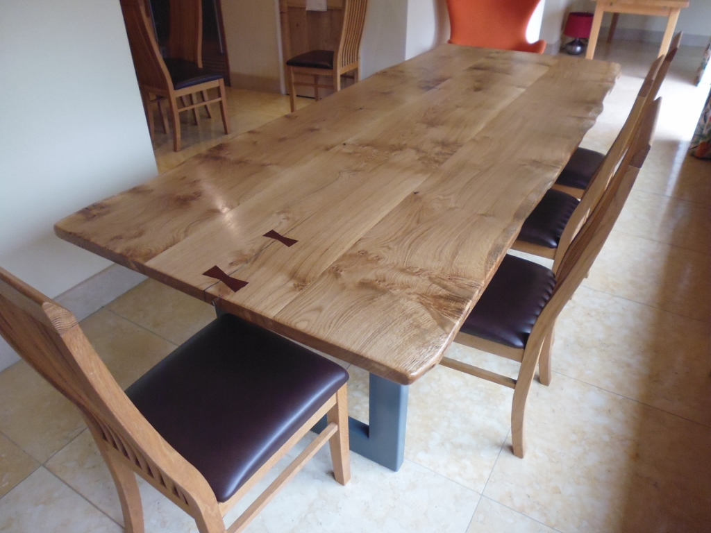 Butterfly Jointed Oak Top Handmade Dining Table