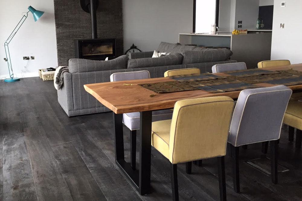 Elm Waney Edge Handmade Dining Table with metal legs