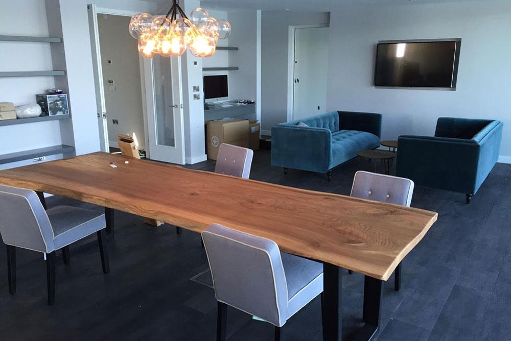 Waney Edge Handmade Dining Table with metal legs