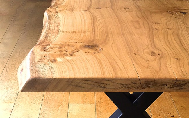 Handmade Live Edge Oak Slab Dining Table with Metal Legs