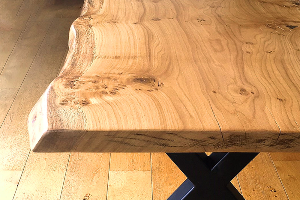 Handmade Live Edge Oak Slab Dining Table Detailed View