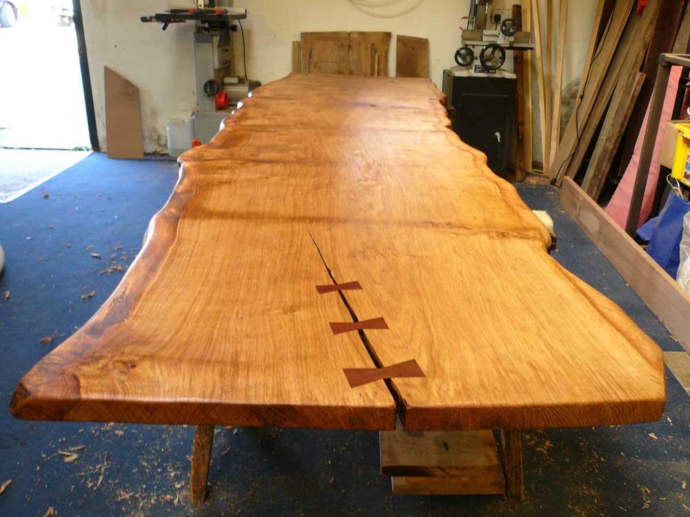 Bespoke Handmade Live Waney Edge Slab Table Top in the Workshop