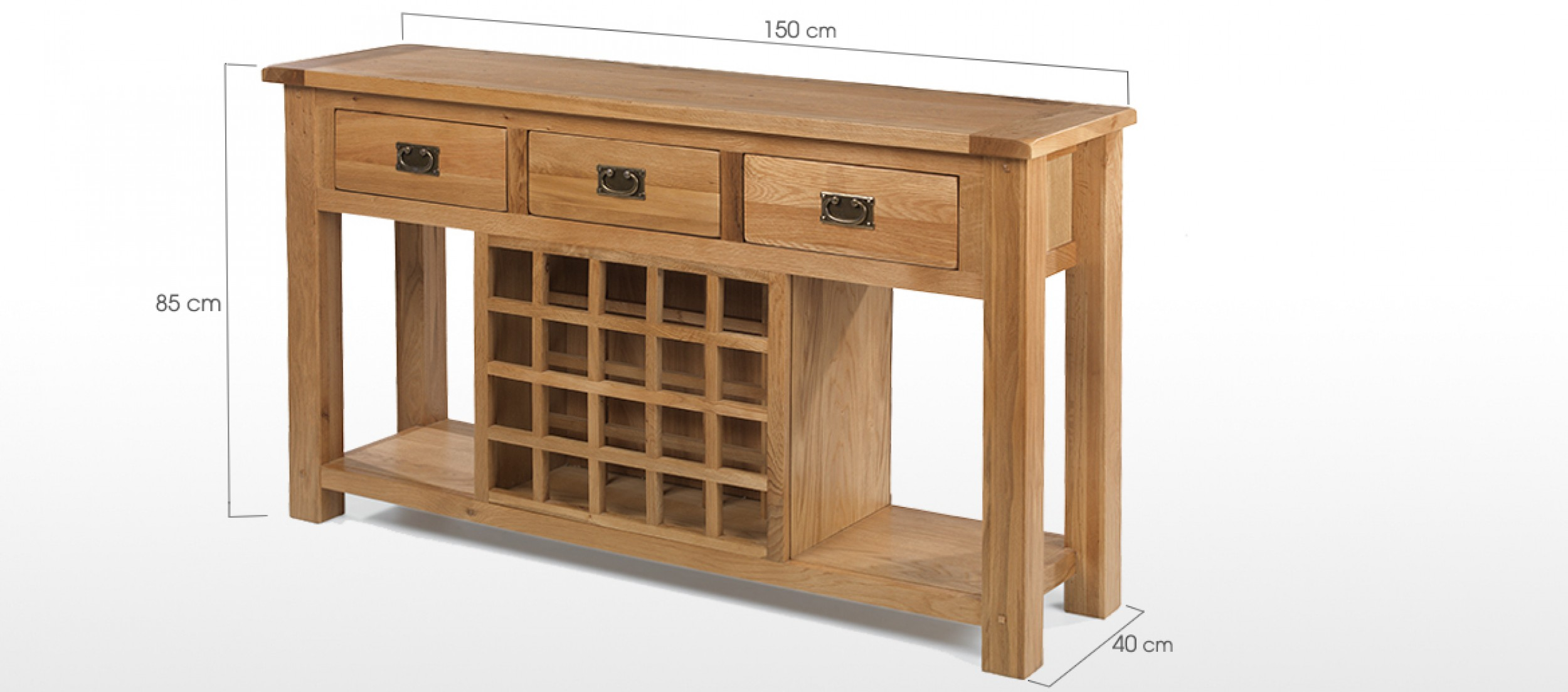 Rustic Oak Wine Rack Console Table Quercus Living