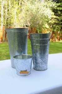 Galvanized flower buckets $3-$10