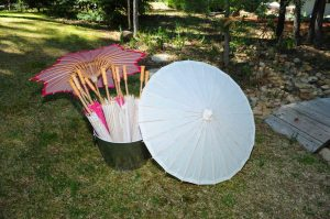 Paper Umbrellas-pink and white $4 each