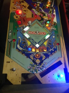 The playfield board for the Monopoly pinball game on display at the 2014 Pin-a-Go-Go show in Dixon, California.