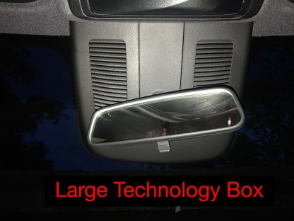 Large technology box on windshield