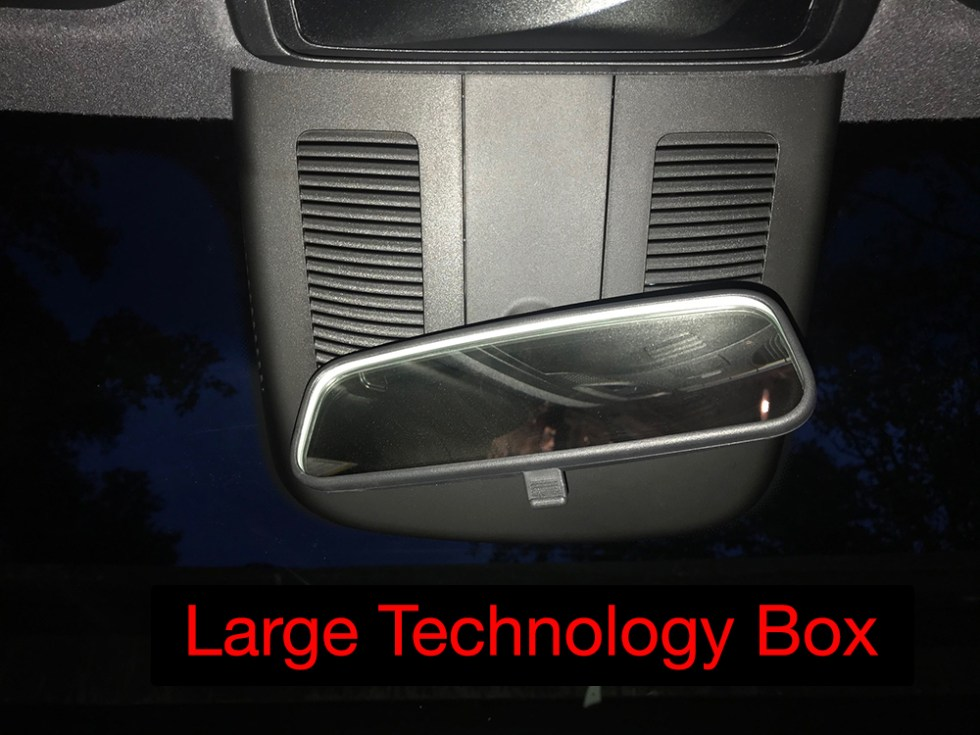 Large technology box on windshield