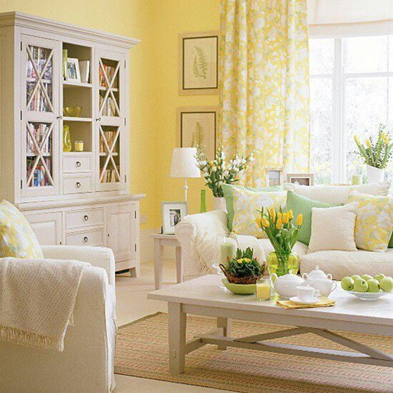 Yellow living room.