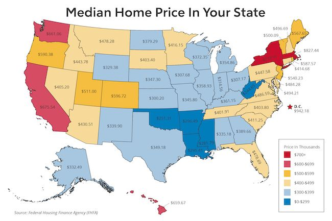 Heat map titled, Median Home Price In Your State