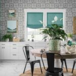 HGTV Dream Home 2020 - Mudroom with gray wallpaper, green paint accents and white cabinets