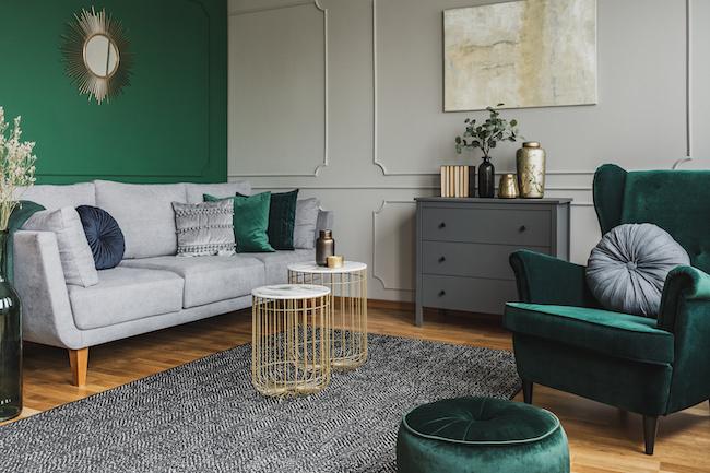 comfy green living room