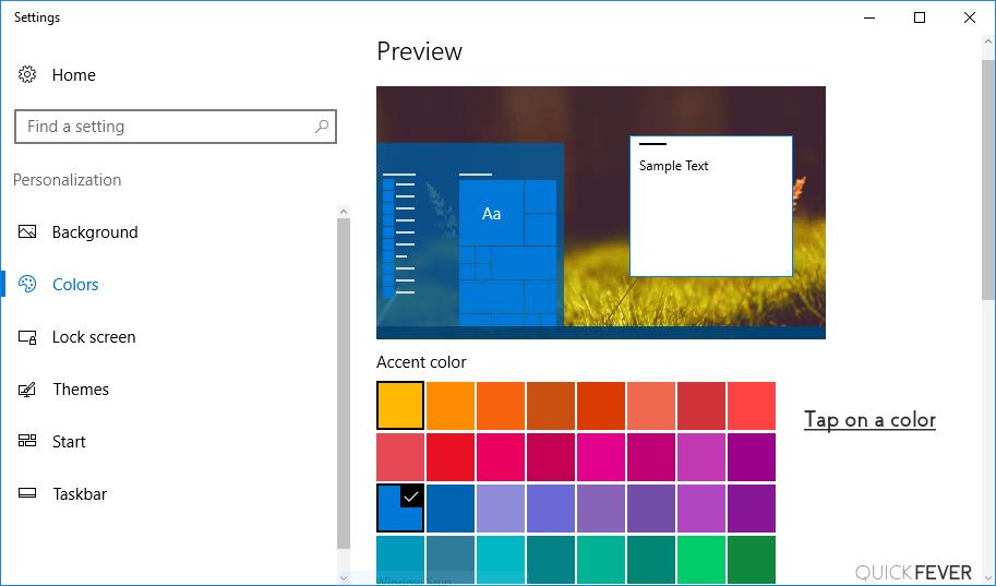 change color of taskbar windows 10