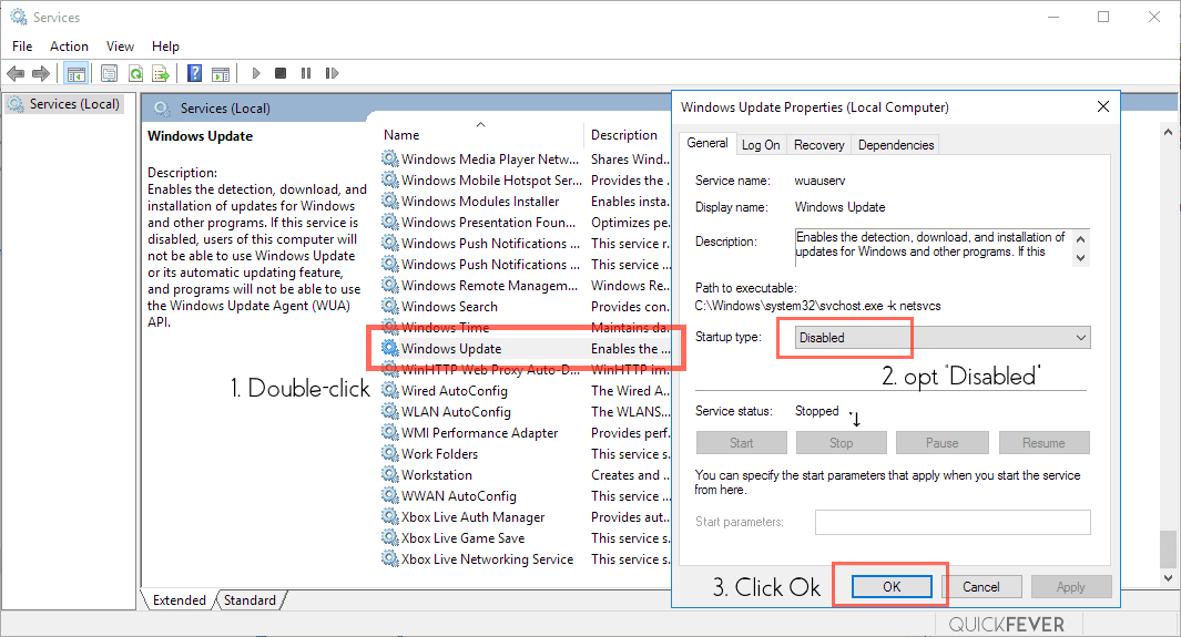 disable unnecessary service, windows 10, windows update