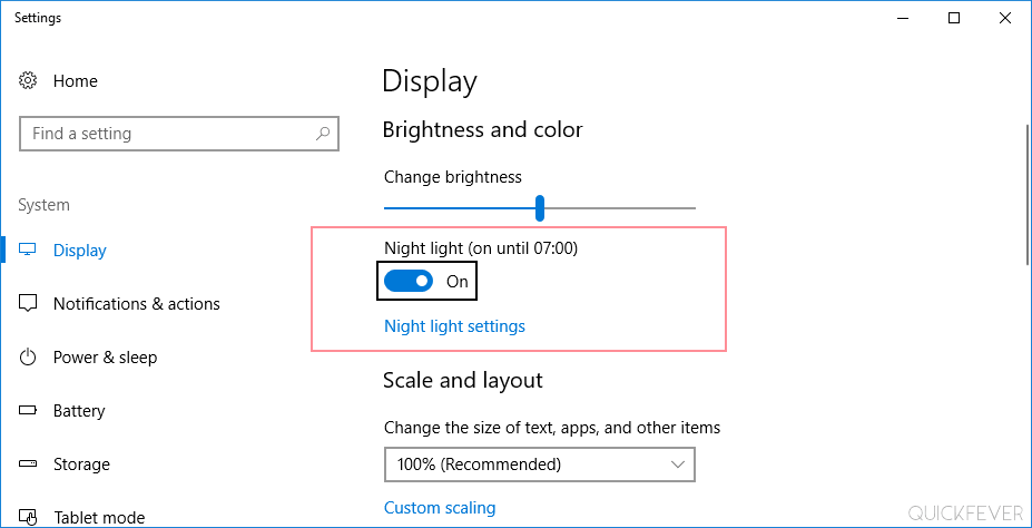 windows 10, night light mode